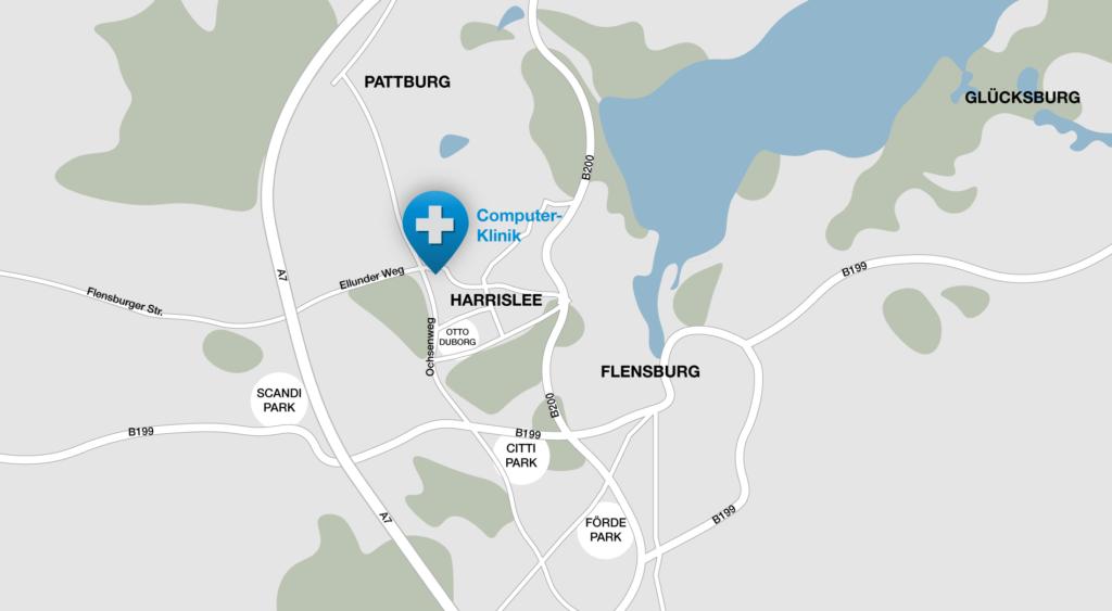 Karte Flensburg-Harrislee: handy reparatur, pc reparatur, apple reparatur